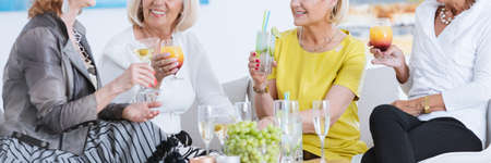 Group of stylish senior women having drinks and smiling in elegant interior Reklamní fotografie - 81514196