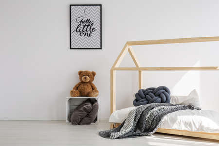 Minimal, bright kid room in scandinavian style
