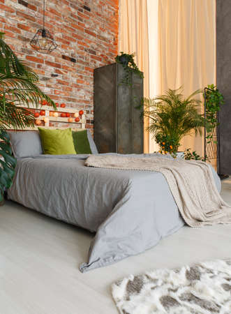 Harmonic bed zone in ecological, modern studio