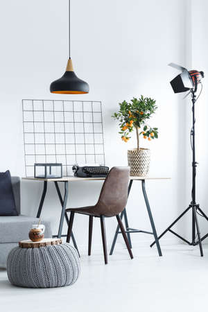 yerba mate: Desk with typewriter and orange tree in modern white room
