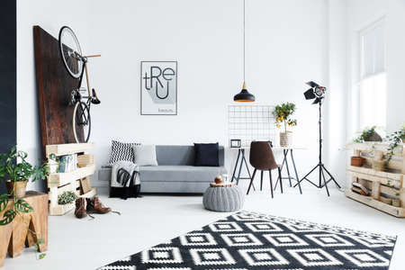 Modern creative room decorated with wooden accessories Stok Fotoğraf