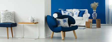 Modern provincial white and blue home interior Banco de Imagens