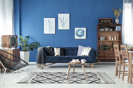 スタイリッシュなレトロなエレガントなアパートメントのリビング ルーム ビュー 写真素材