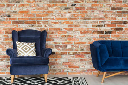 Simple furniture set for living room in vintage style Stock Photo