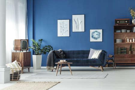 Elegant retro living room in stylish apartment