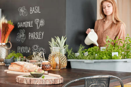 Woman watering the herbs in stylish eco kitchen with healthy food