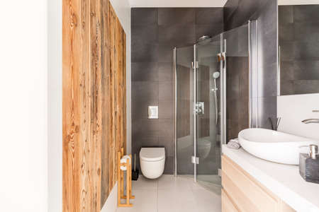 Grey bathroom design with raw wooden panels and modern decor 版權商用圖片