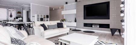 Zone de détente élégante en noir et blanc avec système de home cinéma Banque d'images - 81873651