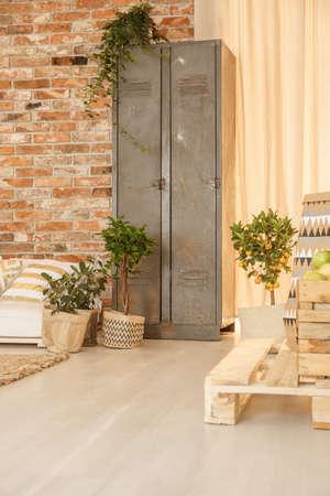 Metal shelves in cozy living room designed in botanic style 版權商用圖片
