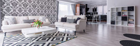 Black and white living room with pattern decoration 版權商用圖片