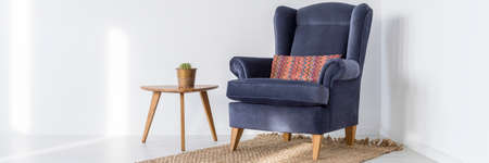 navy blue background: Navy blue armchair on a rug and small wooden table with cactus in white interior