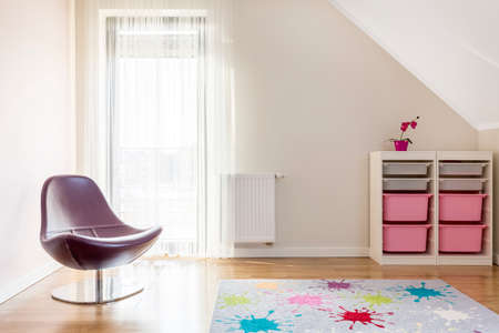 Light and simple relax corner with purple pastel accessories 版權商用圖片
