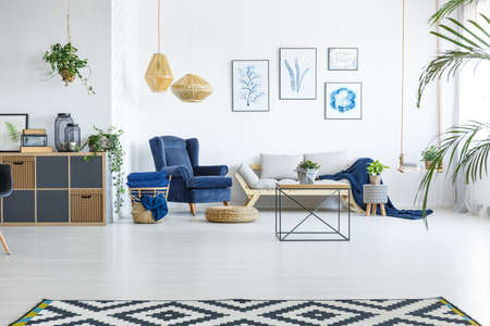 Spacious living room with sofa, armchair and posters Reklamní fotografie - 82160755