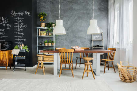 Chalkboard and big table in dining room