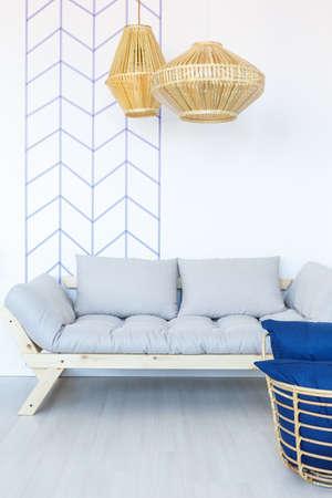 Modern sofa in white living room interior