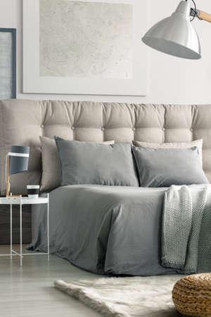 Chambre moderne spacieuse avec grand lit conçu en couleurs grises