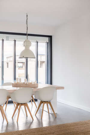 Vertical view of spacious and pure dining room Reklamní fotografie - 81945959