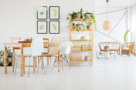 Wooden table and chairs in dining room with plants