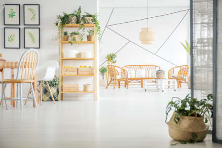 Modern living room and dining room decorated with plants and posters Stock Photo