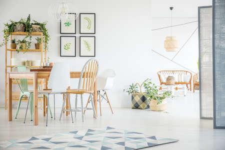 Moderne eetkamer met planten in ruim wit appartement