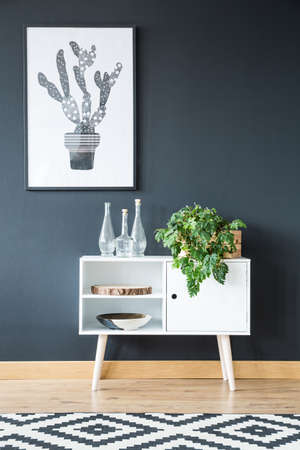 White cupboard with plants standing on a black wall
