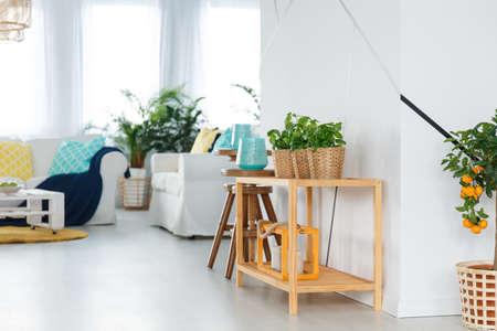 Kleine houten eenvoudige plank in wit stijlvol appartement