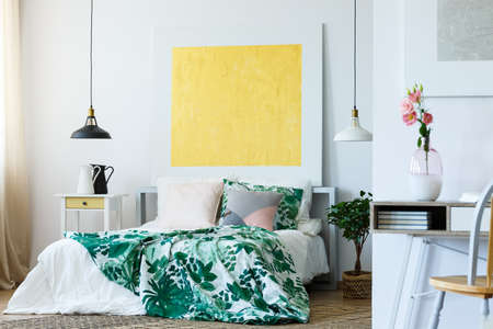 Art gallery in stylish and modern bedroom Stock Photo