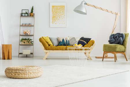 Big white carpet on the floor in cozy living room