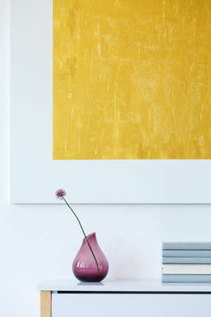 Yellow, modern painting and purple, glass flowerpot