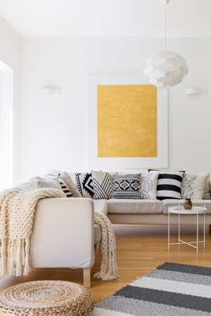 Wool blanket and pillows on white sofa in stylish living room