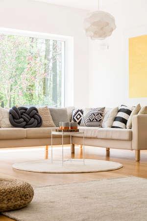 Trendy decor of spacious cozy white lounge with big sofa