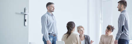 Group therapist using psychodrama in the treatment of neurotic patients Stock Photo - 82423721