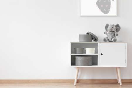 판지 상자 라운드 박제 장난감과 흰색 나무 찬장에 서서 스톡 콘텐츠 - 82347764