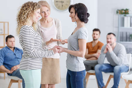 Group therapy for people with trust issues in session Stock Photo - 82347765