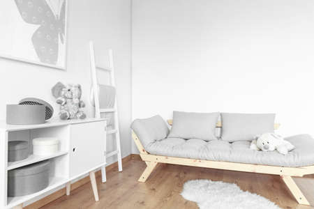 Bright simple room in Scandinavian style designed for kid