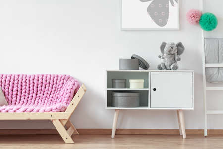 Wooden sofa with pink soft blanket standing next to white cupboard
