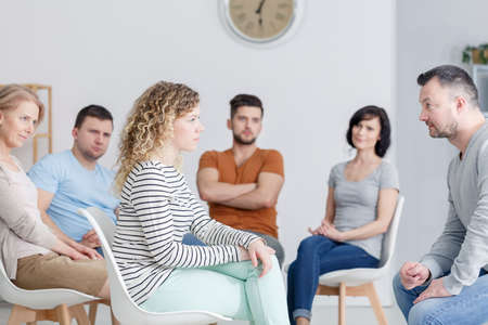 Drama therapy during group meeting in progress Stock Photo