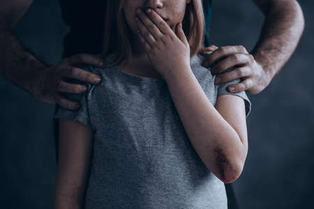 Children abuse is a crime don't be quiet about it Banque d'images