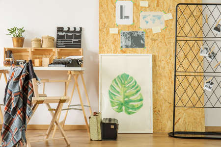 Bright eco style workspace for young student Stock Photo