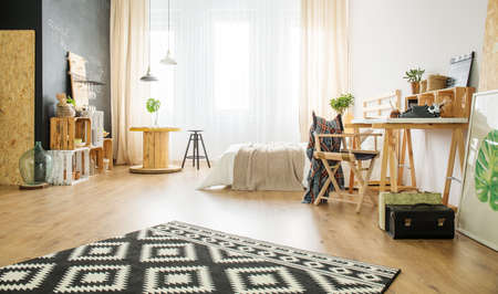 Eco style apartment with wooden furniture and DIY deatails