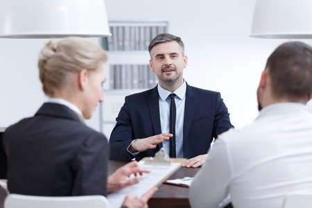 Man making good impression during interview for managerial position