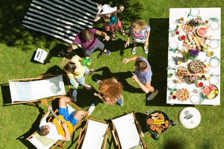 Drone photo of casual grill garden party Stock Photo