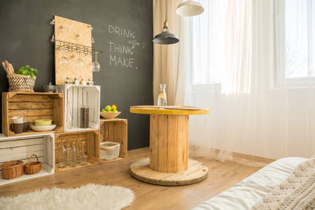 Cosy eco interior design with upcycled furniture Stock Photo - 82490490