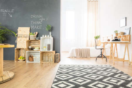 Hipster Single Studio Flat With DIY Furniture Photo