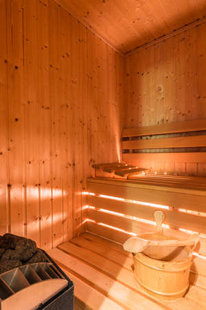 Spacious wooden sauna room in home