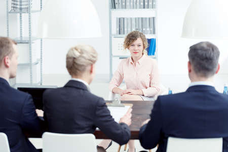 Woman speaking about her skills during job interview Stock Photo - 82495862