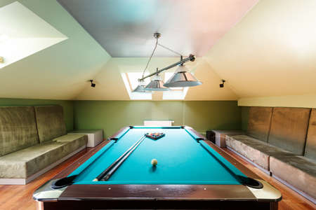 Elegant Pool Table And Comfy Sofas At The Attic Stock Photo   82490961