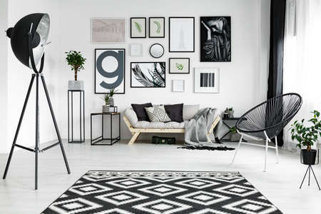 Stylish white living room with black accessories and plants