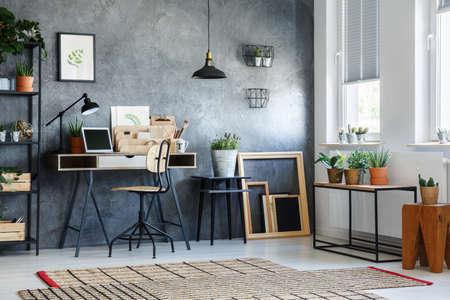 Kamer met moderne inrichting, potplanten en houten lege kaders Stockfoto