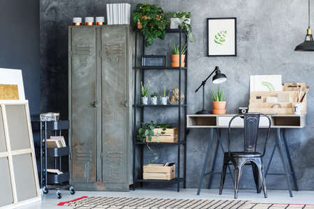 Modern interior design of the industrial creative study room Imagens